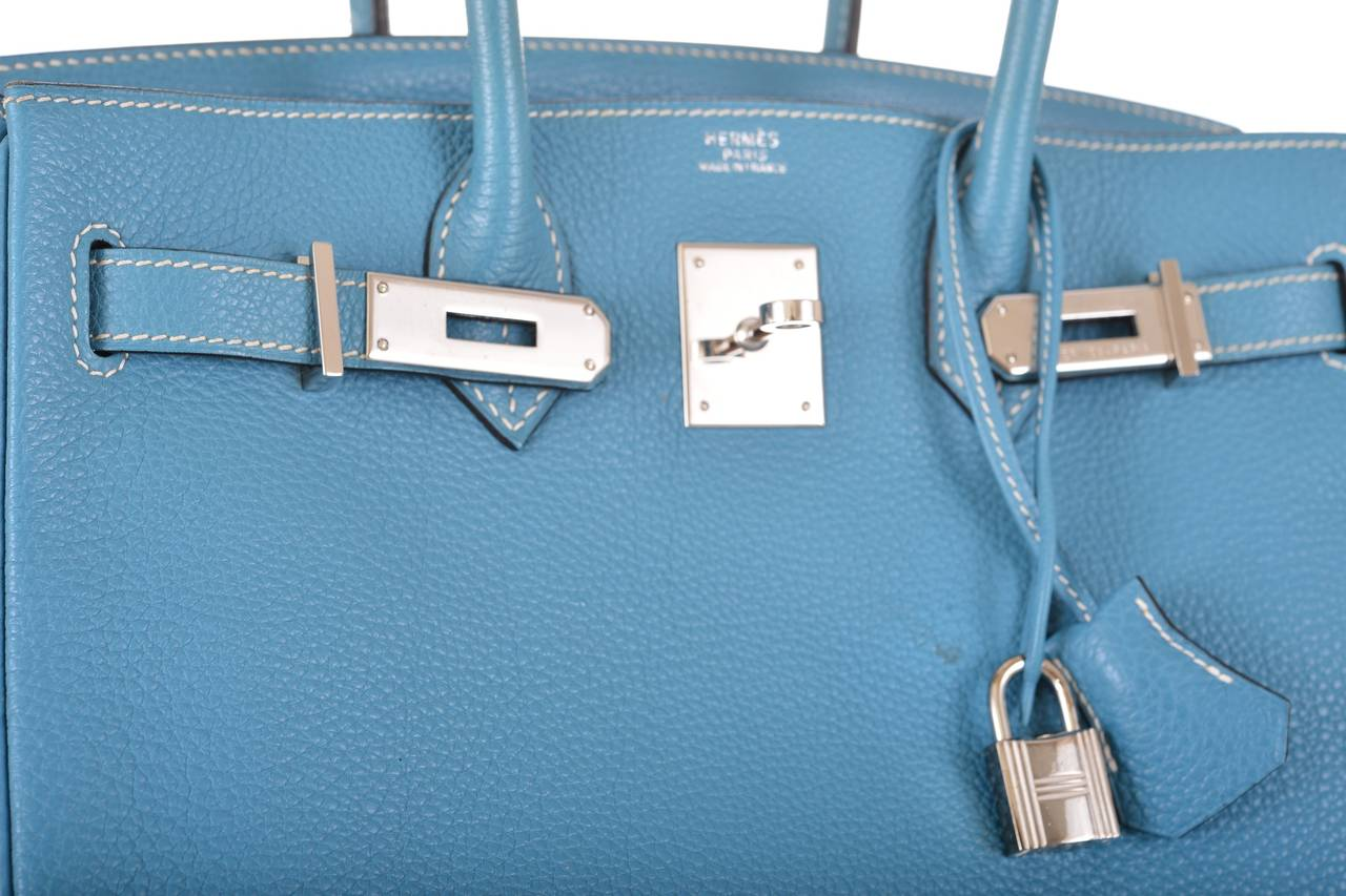 Hermes Blue Jean Togo 35cm Birkin Bag, PHW