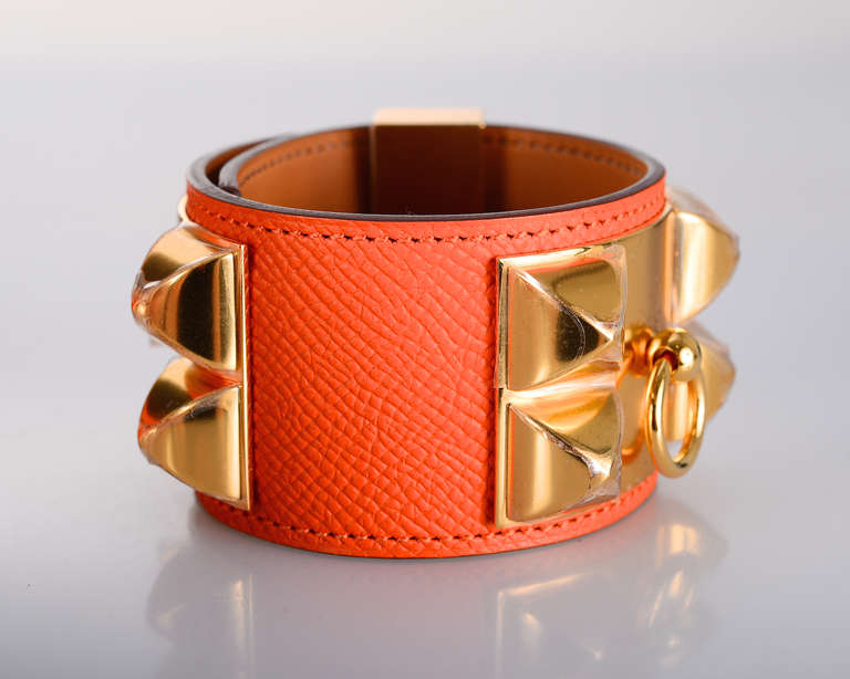 love this hermes collier de chien cdc orange cdc with gold hardware at 1stdibs. Black Bedroom Furniture Sets. Home Design Ideas