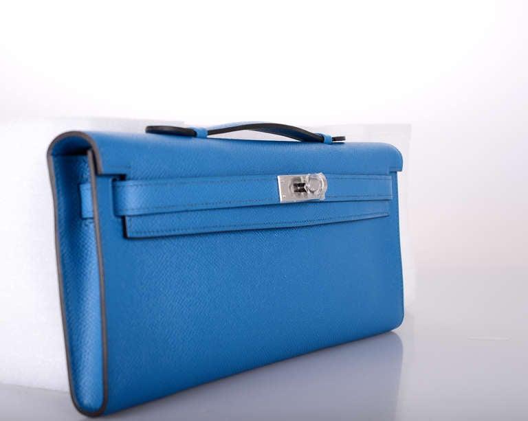 HERMES KELLY BLUE IZMIR BAG KELLY Cut CLUTCH POCHETTE JaneFinds at ...