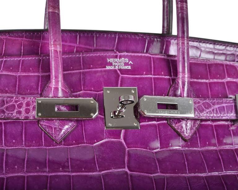 who makes birkin bags - SITMEDOWNOW - HERMES BIRKIN BAG 35cm VIOLET CROCODILE POROSUS P ...