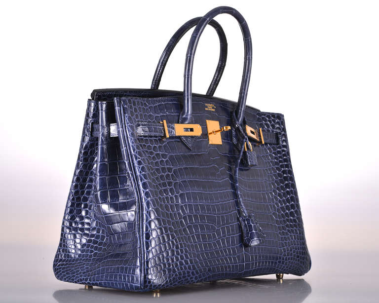 HERMES BIRKIN BAG 35cm BLUE ABYSSE CROCODILE GOLD HARDWARE at 1stdibs