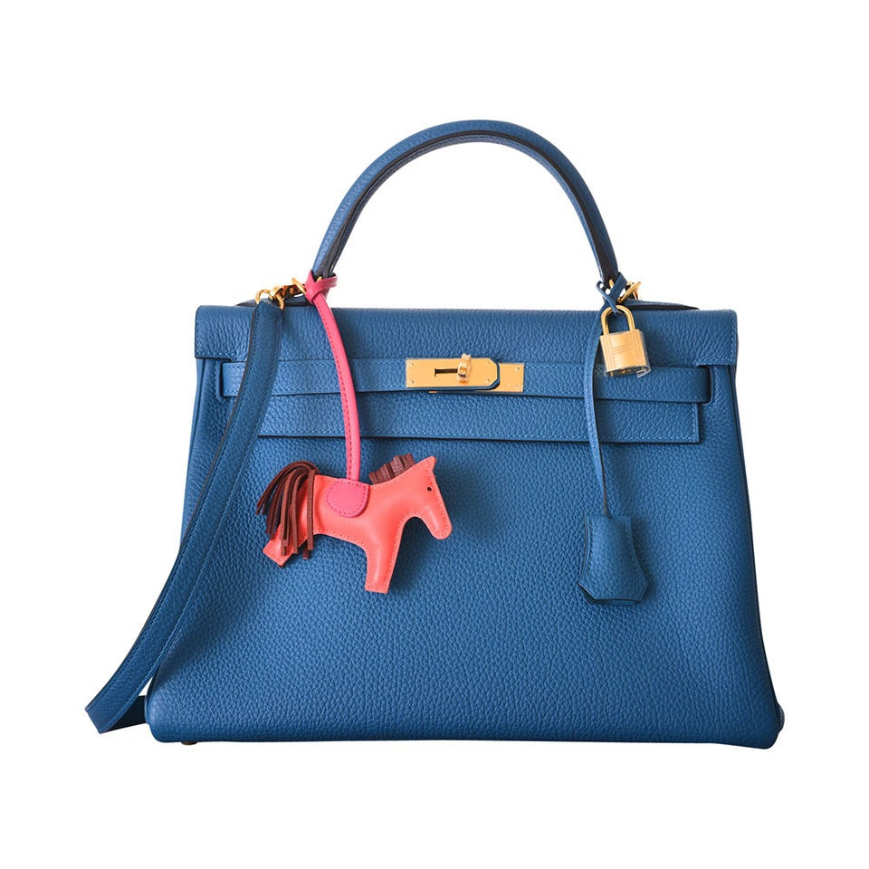 hermes kelly bag 32cm blue de galice with gold leather janefinds