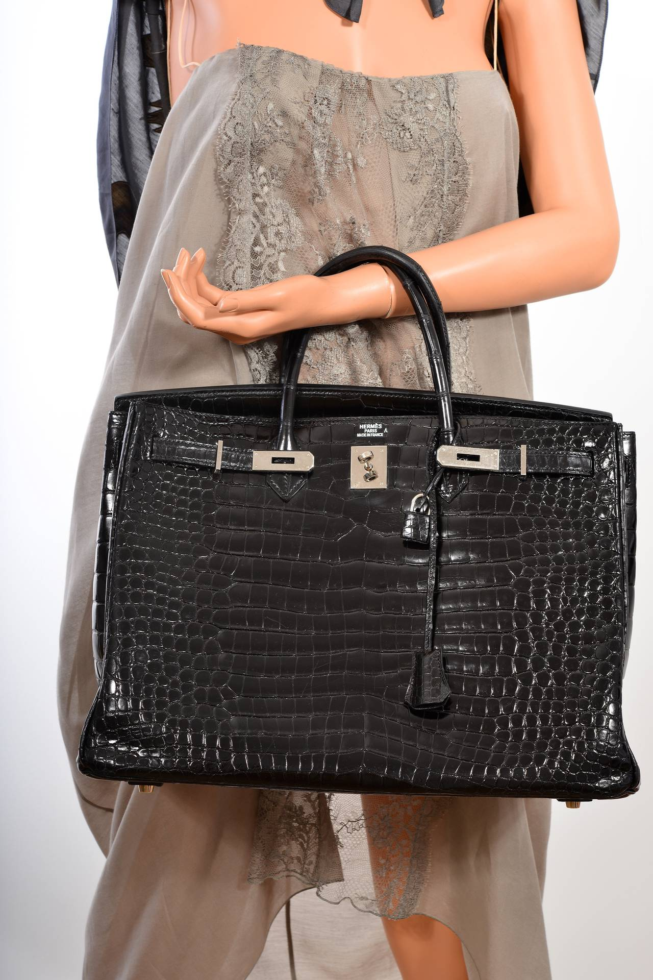 hermes black porosus crocodile 35 cm birkin bag phw