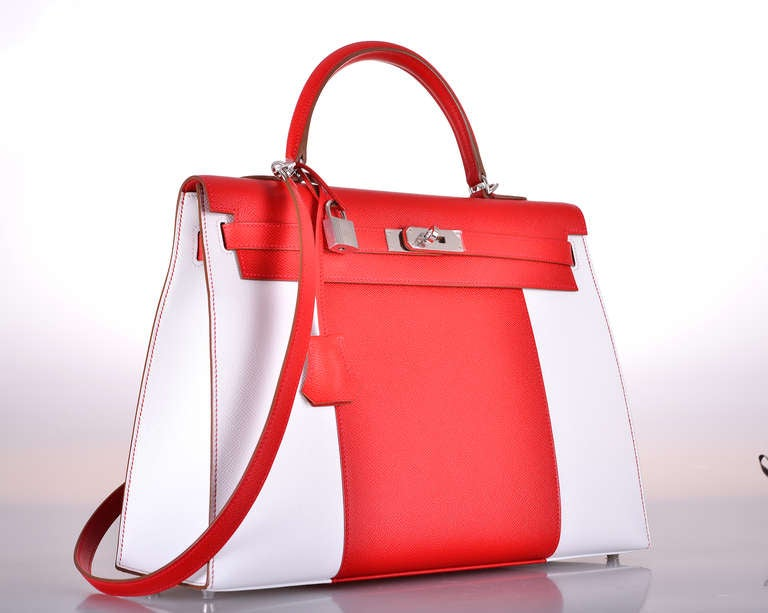 HERMES KELLY FLAG BAG 35cm WHITE * Red * EPSOM JaneFinds at 1stdibs