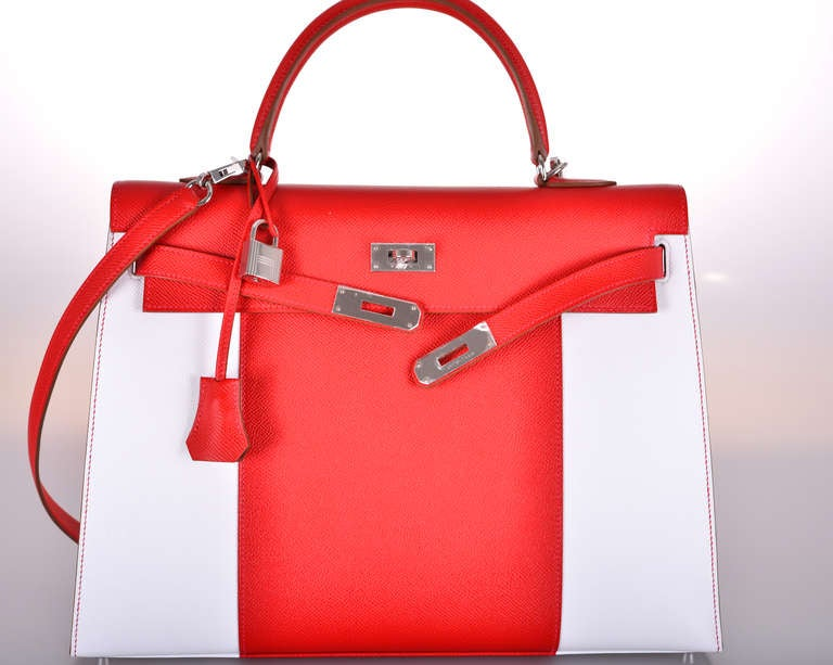 hermes birkin replica cheap - HERMES KELLY FLAG BAG 35cm WHITE * Red * EPSOM JaneFinds at 1stdibs