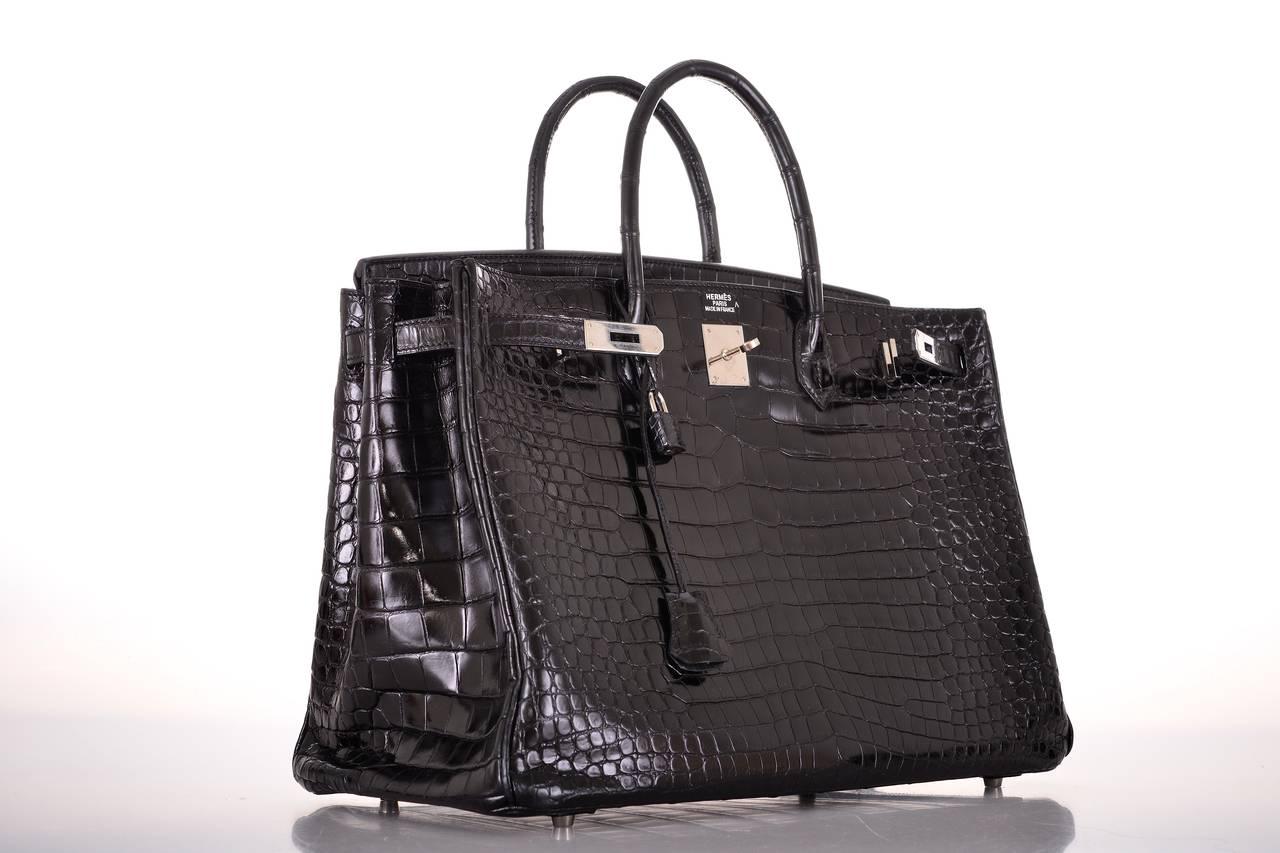birkin bag knockoff - HERMES BIRKIN BAG 40CM BLACK CROCODILE POROSUS PHW DREAM BAG ...