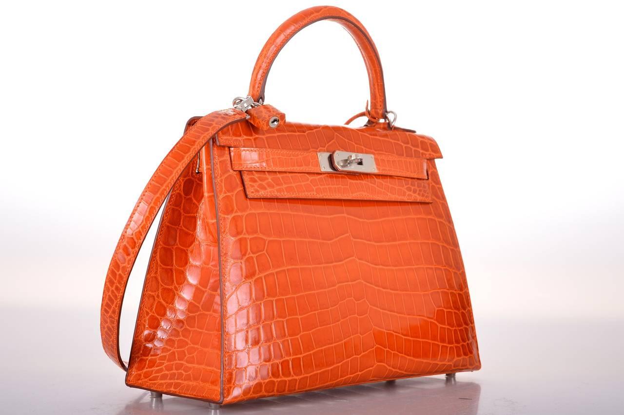 Hermes Kelly Bag 28cm Crocodile Orange Simply Stunning! JaneFinds ...