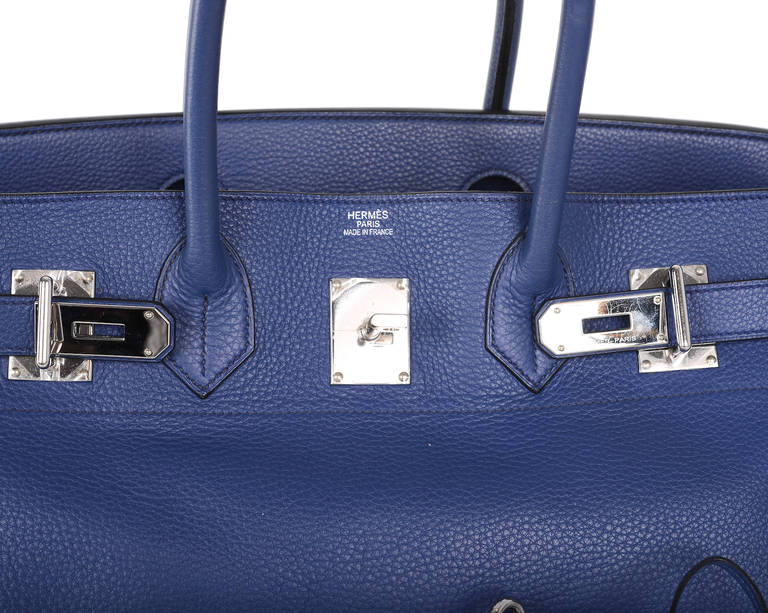 HERMES BIRKIN BAG SHOULDER JPG GORGEOUS BLUE 42cm PALLADIUM HARDWARE JaneFinds 4