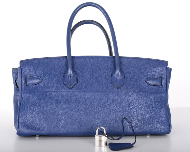 HERMES BIRKIN BAG SHOULDER JPG GORGEOUS BLUE 42cm PALLADIUM HARDWARE JaneFinds 5