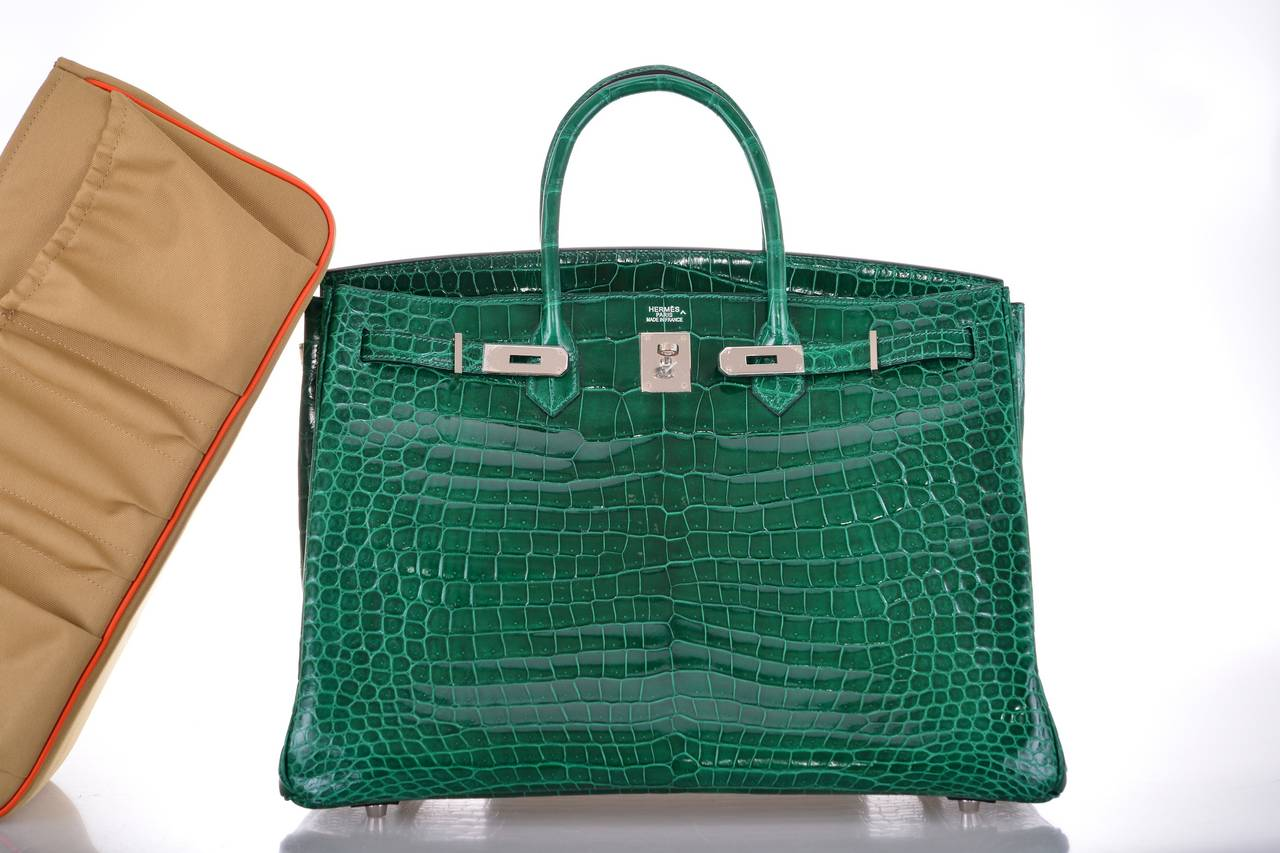 hermes birkin bag 35cm emerald green crocodile vert emeraude janefinds