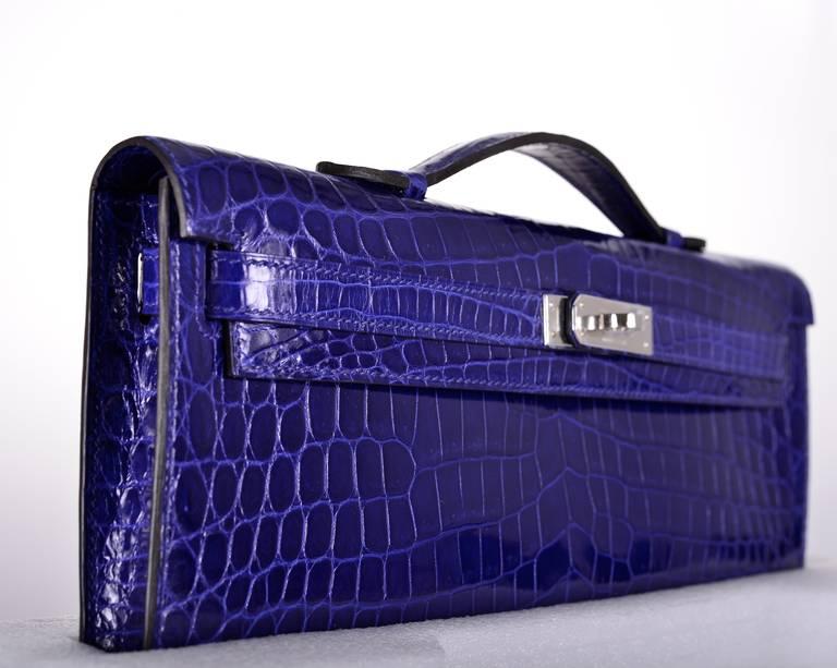 fake hermes bag - HERMES CROCODILE BAG KELLY CUT CLUTCH POCHETTE Blue ELECTRIC PALL ...