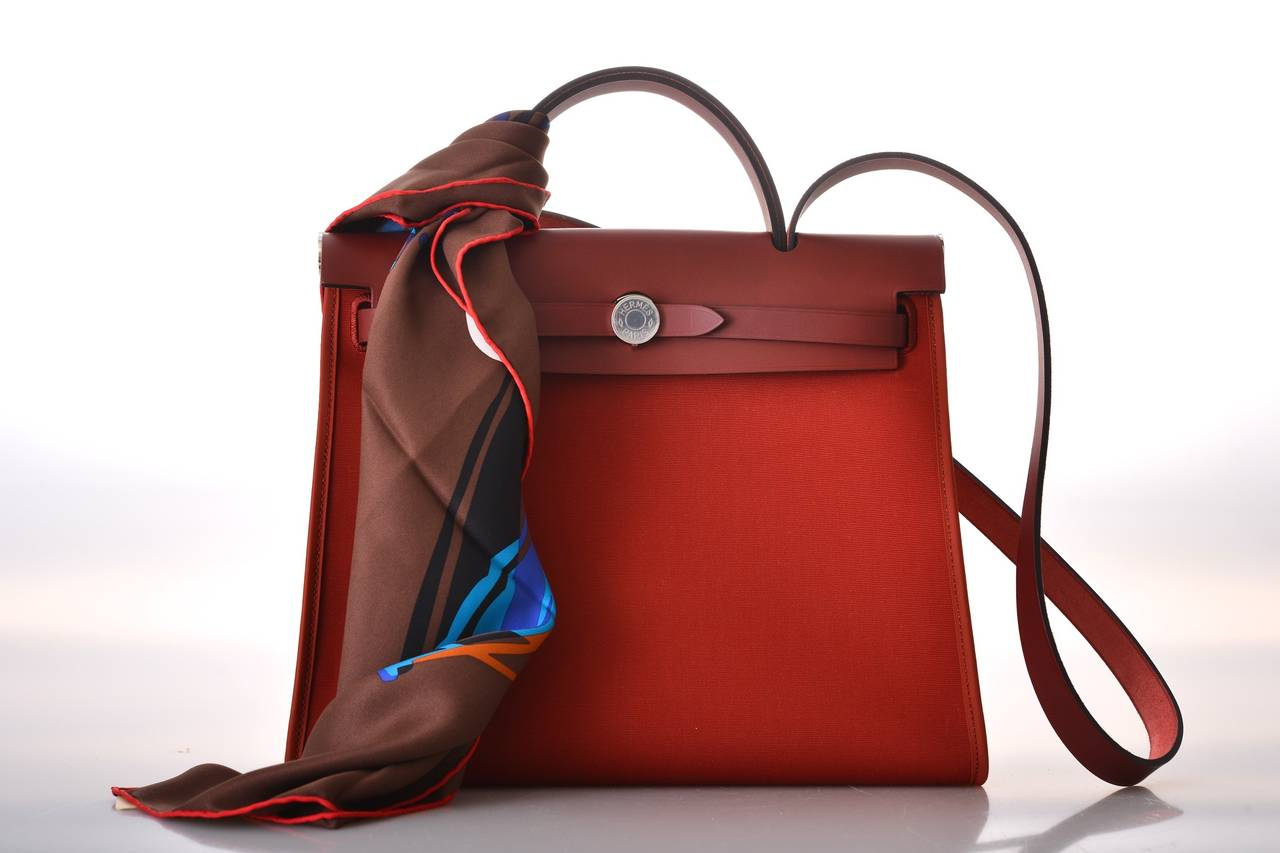 faux ostrich handbag - HERMES ZIP HERBAG ROUGE H CROSSBODY CANVAS and LEATHER JaneFinds ...