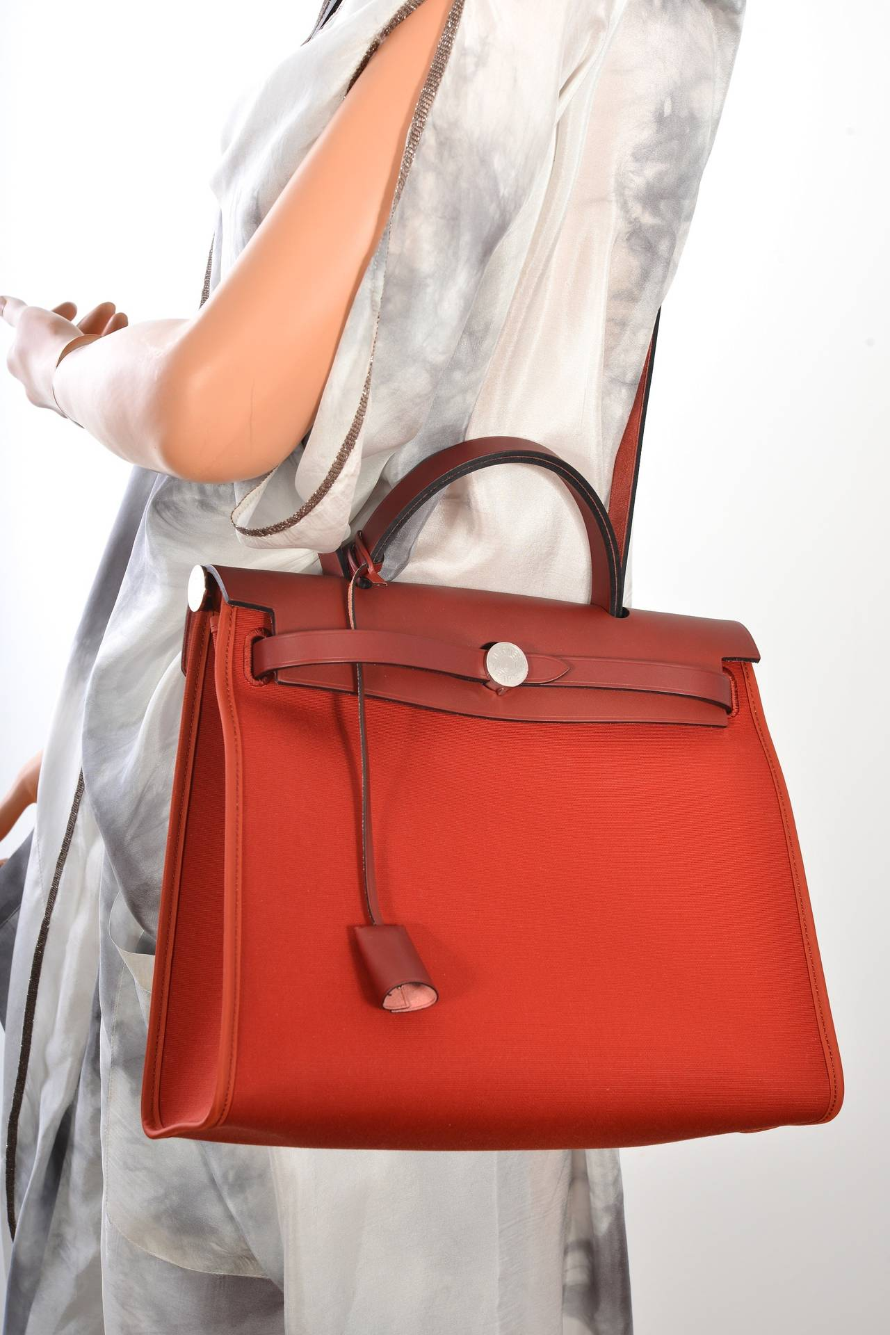 HERMES ZIP HERBAG ROUGE H CROSSBODY CANVAS and LEATHER JaneFinds ...