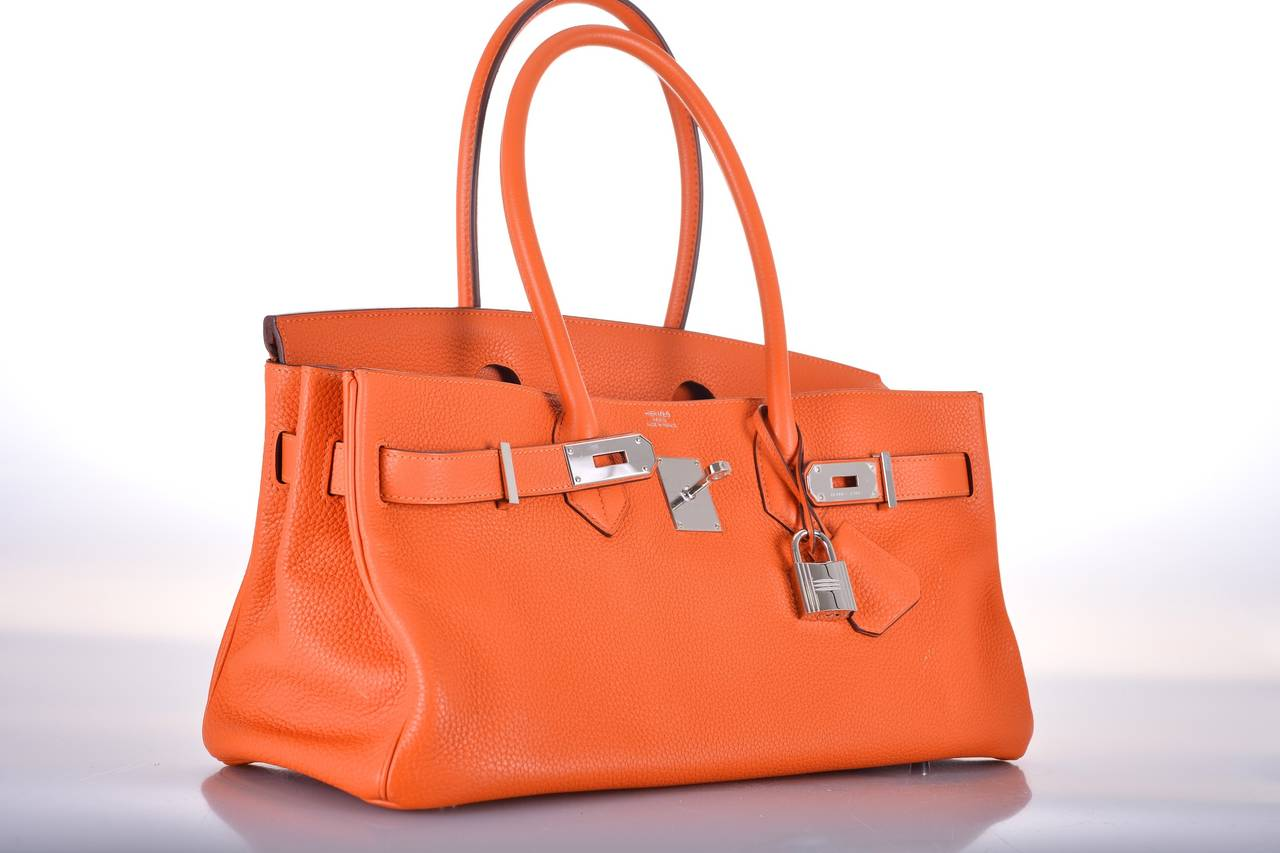 Hermes Birkin Bag Shoulder Jpg Orange 42cm 2 Pall Hardware