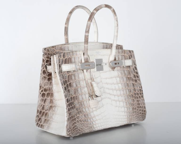 HERMES BIRKIN BAG 25cm HIMALAYAN WHITE NILO CROCODILE at 1stdibs