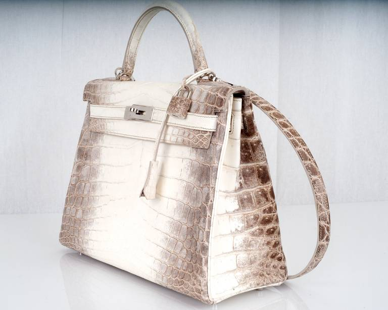 WOWZA! HERMES KELLY BAG 32cm HIMALAYAN WHITE CROCODILE TREAT ...