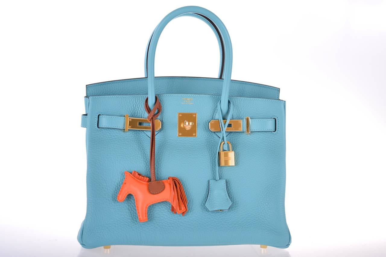 cheap hermes birkin bag - HERMES BIRKIN 30CM BLUE SAINT CYR TOGO GOLD HARDWARE INSANE NEW ...