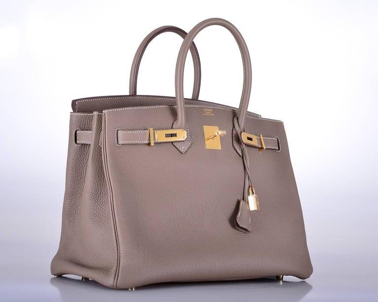 HERMES BIRKIN BAG ETOUPE 35cm GOLD HARDWARE AMAZING COMBO ...