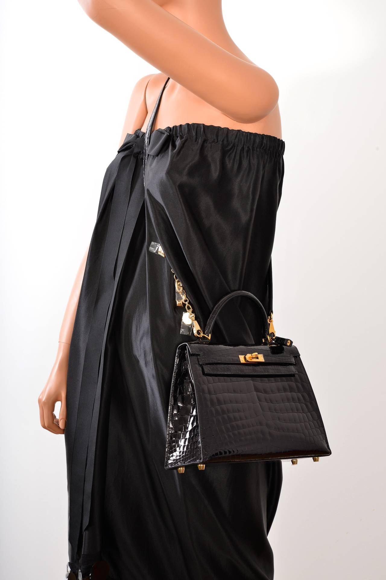 small brown handbag - SUPER RARE INCREDIBLE HERMES KELLY BAG 25cm BLACK NILO CROCODILE ...