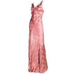 Mauve Lamé Bias Cut Gown, 1930s