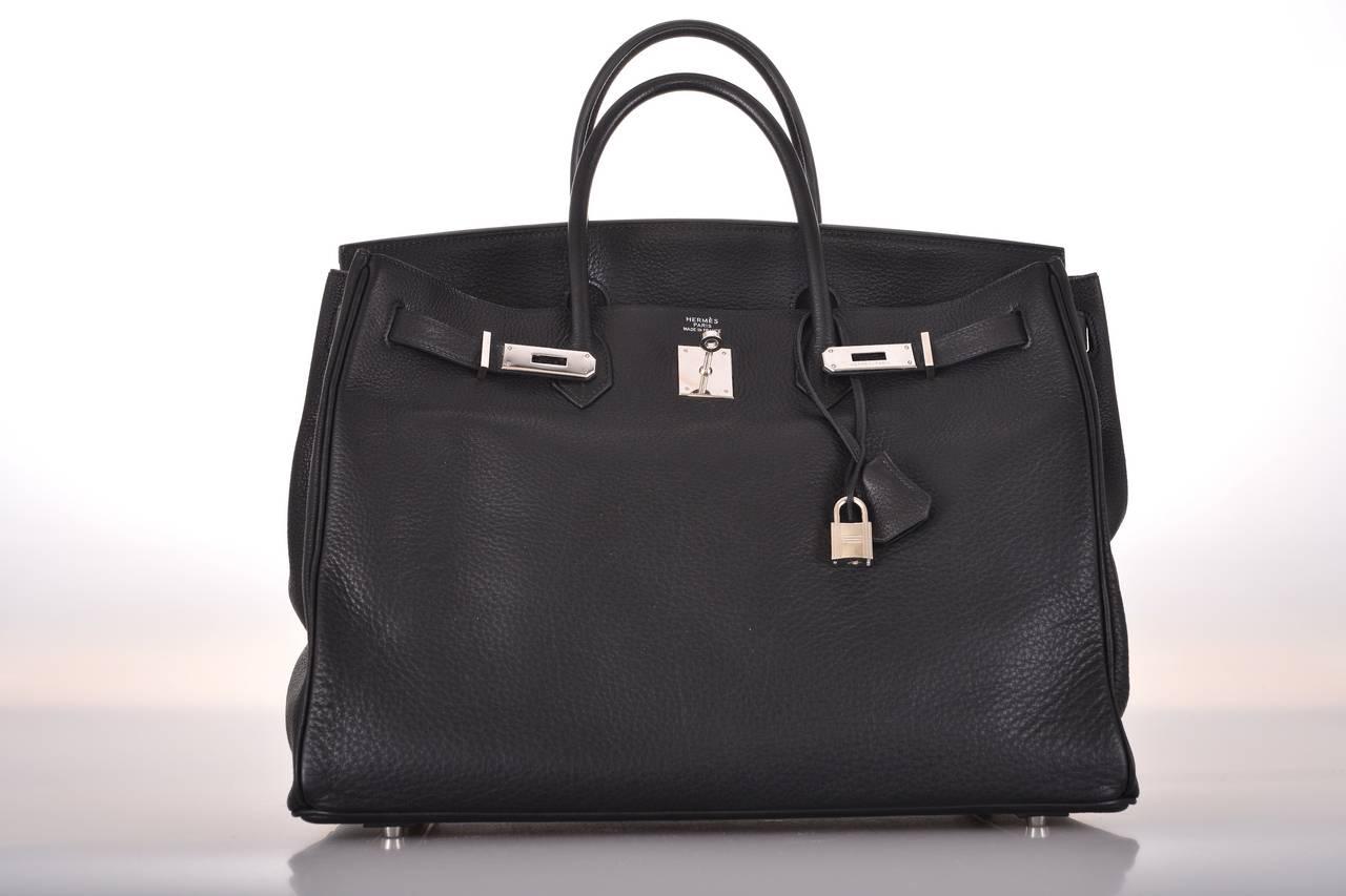 HERMES BIRKIN BAG BLACK 40cm PALL HARDWARE JaneFinds For Sale at ...