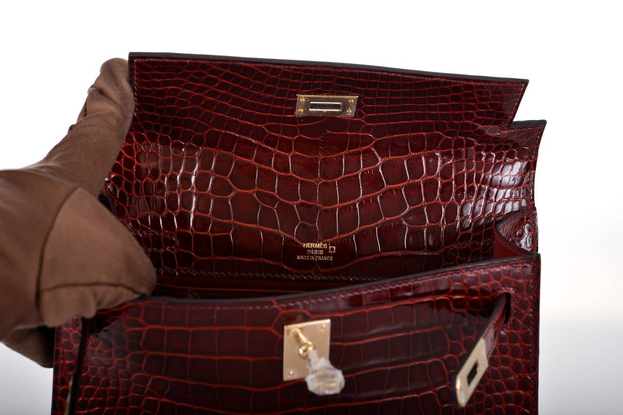 how to tell real ostrich leather - HERMES KELLY BOURGOGNE ALLIGATOR Bag KELLY CLUTCH POCHETTE GOLD ...