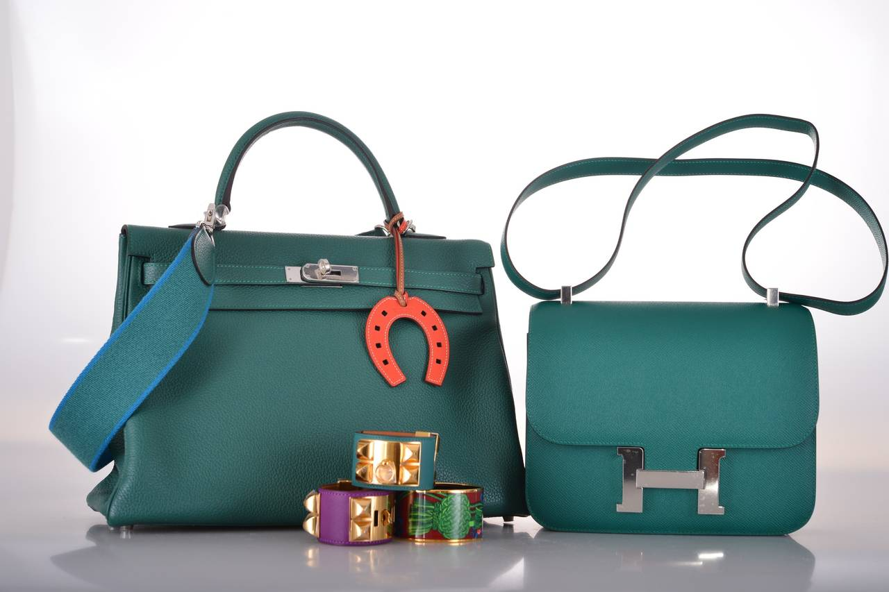 HERMES CONSTANCE BAG 24cm DOUBLE GUSSET MALACHITE EPSOM LEATHER . ec905115ccace