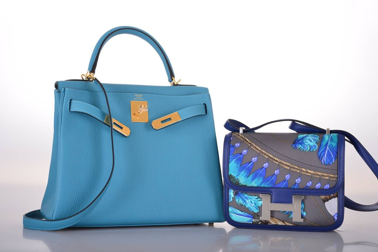 HERMES KELLY 28cm KELLY TURQUOISE TOGO GOLD HARDWARE JaneFinds at ...
