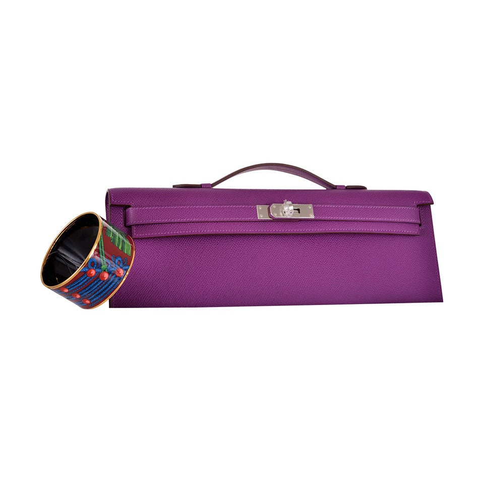HERMES KELLY ANEMONE BAG KELLY CUT CLUTCH POCHETTE PALLADIUM ...