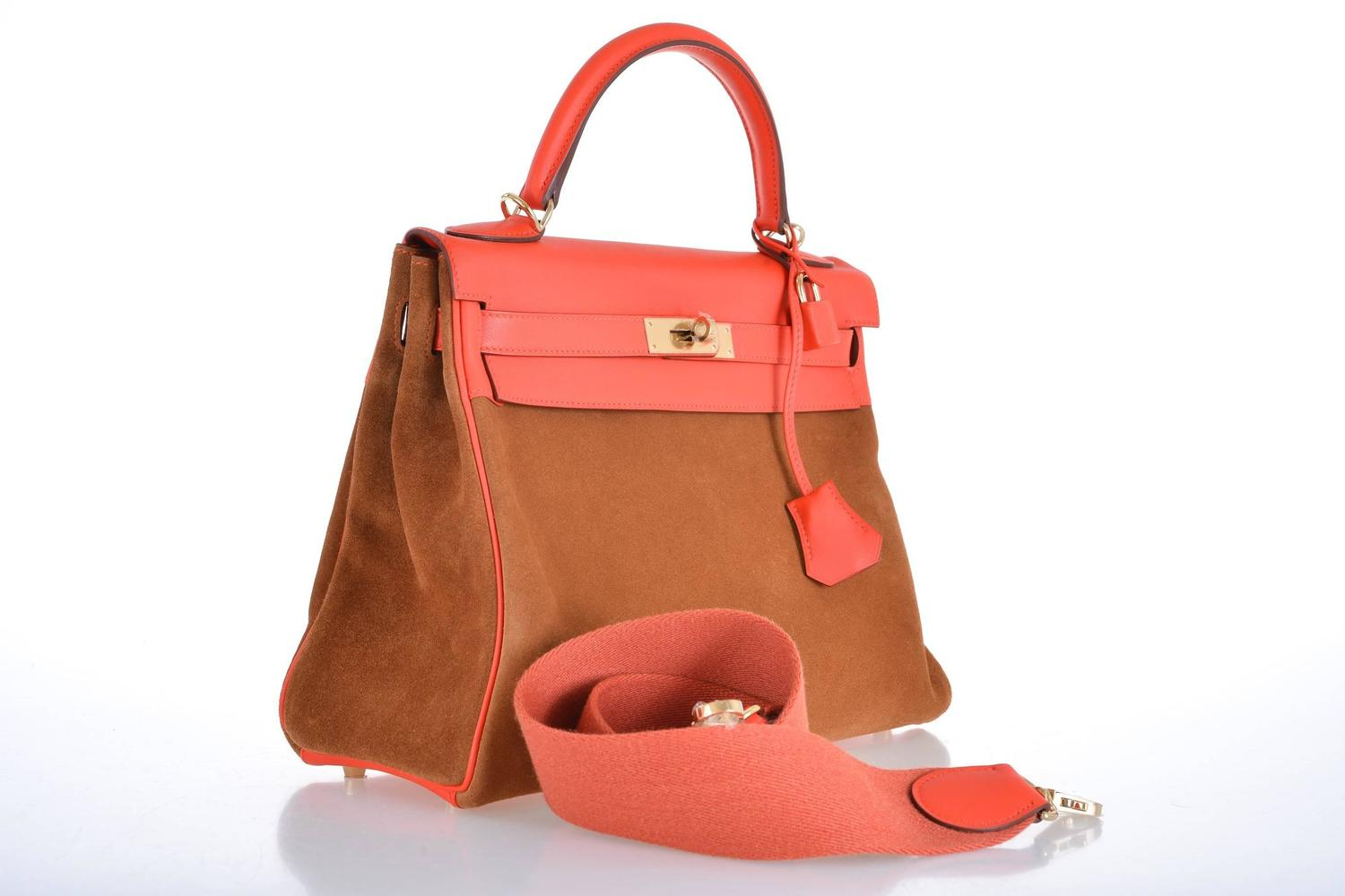 hermes bags replica - HERMES KELLY BAG 32cm GRIZZLY SUEDE W CAPUCINE GOLD PERMABRASS ...