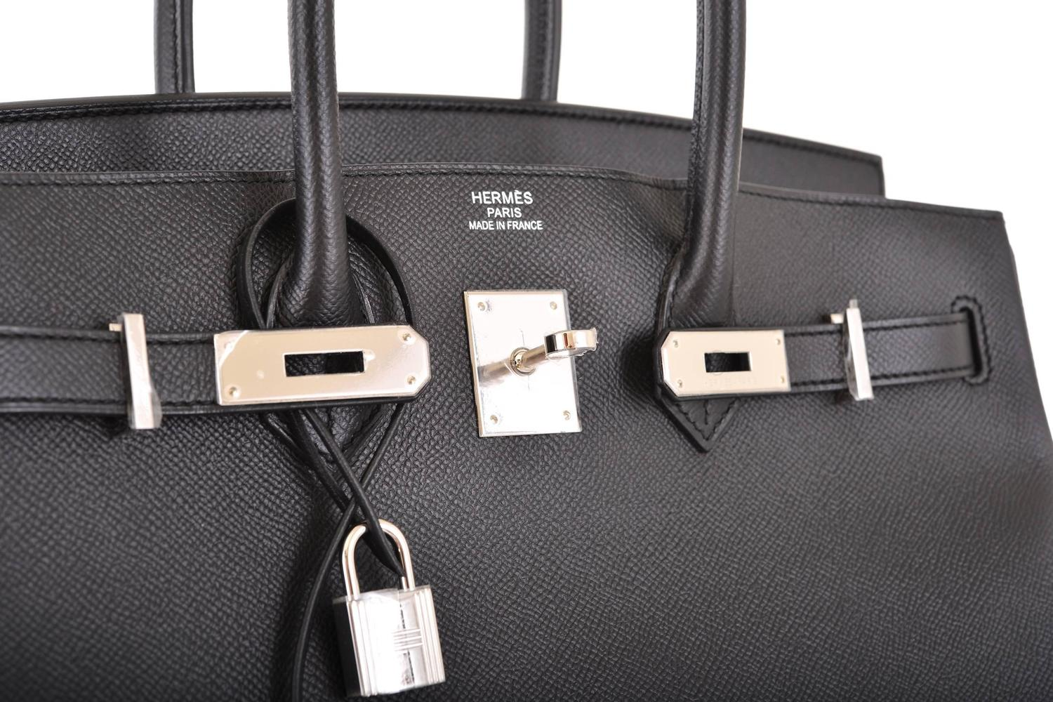 HERMES BIRKIN BAG 35CM BLACK EPSOM WITH PALLADIUM HARDWARE SUPER ...