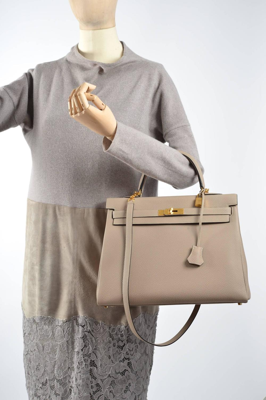 hermes bags cost - HERMES KELLY BAG GRIS TOURTERELLE 35cm GREY TOGO GOLD HARDWARE ...