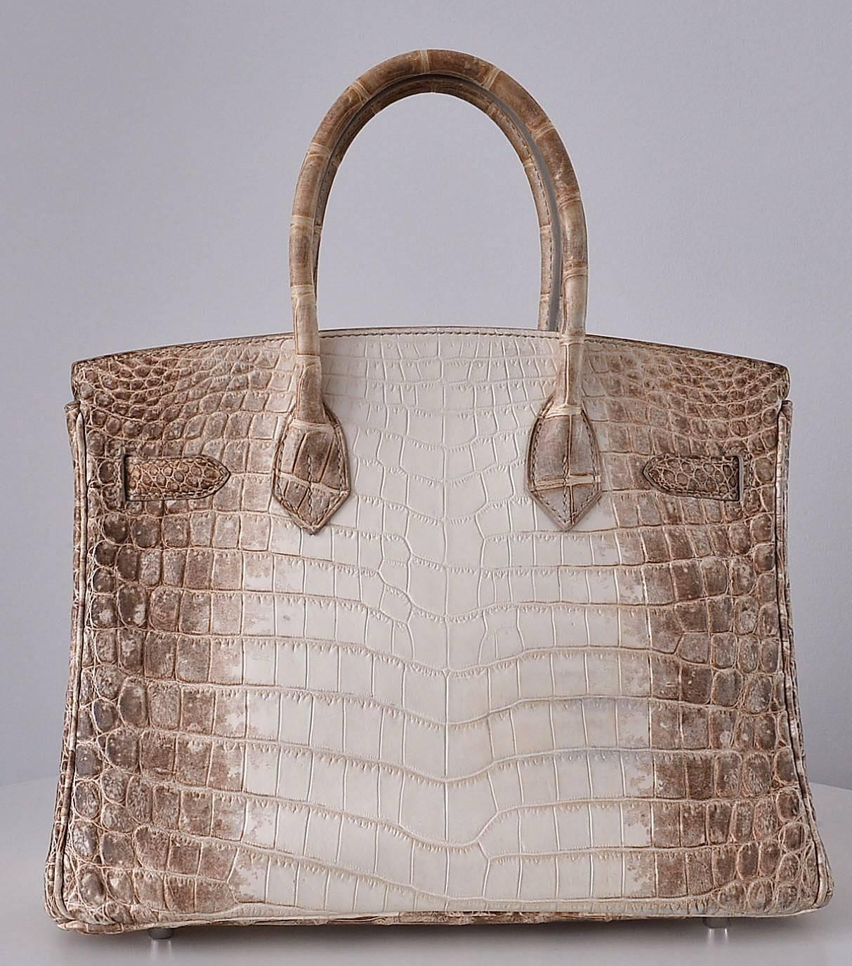 hermes replica handbags - HERMES BIRKIN BAG 30cm HIMALAYAN WHITE NILOTICUS CROCODILE stamp M ...