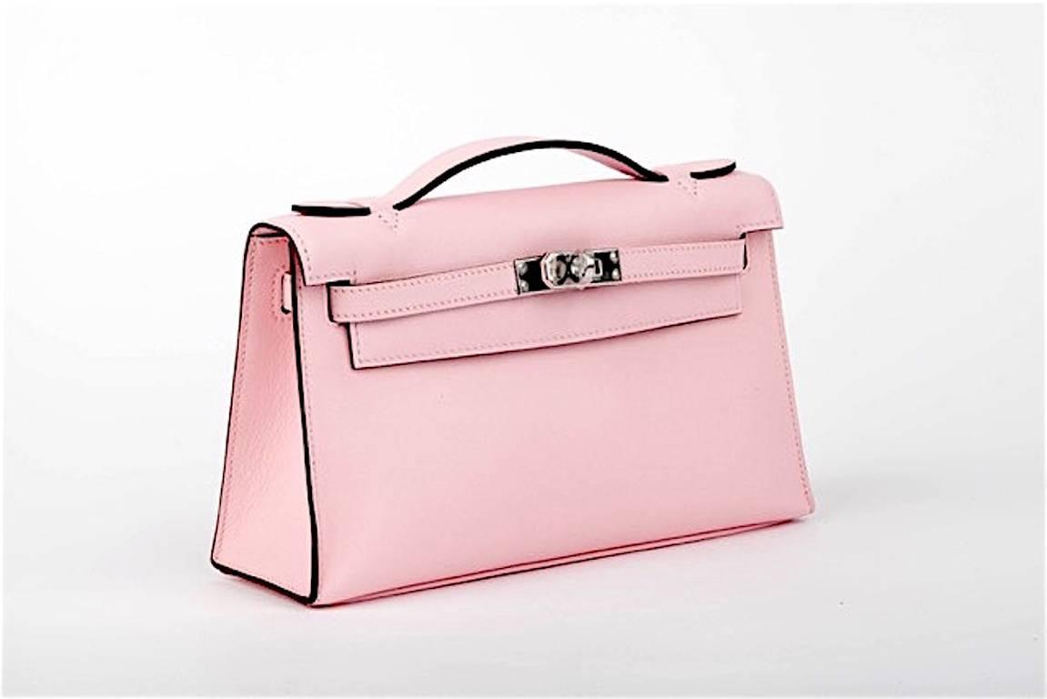 HERMES KELLY POCHETTE ROSE SAKURA SWIFT CLUTCH JaneFinds at 1stdibs