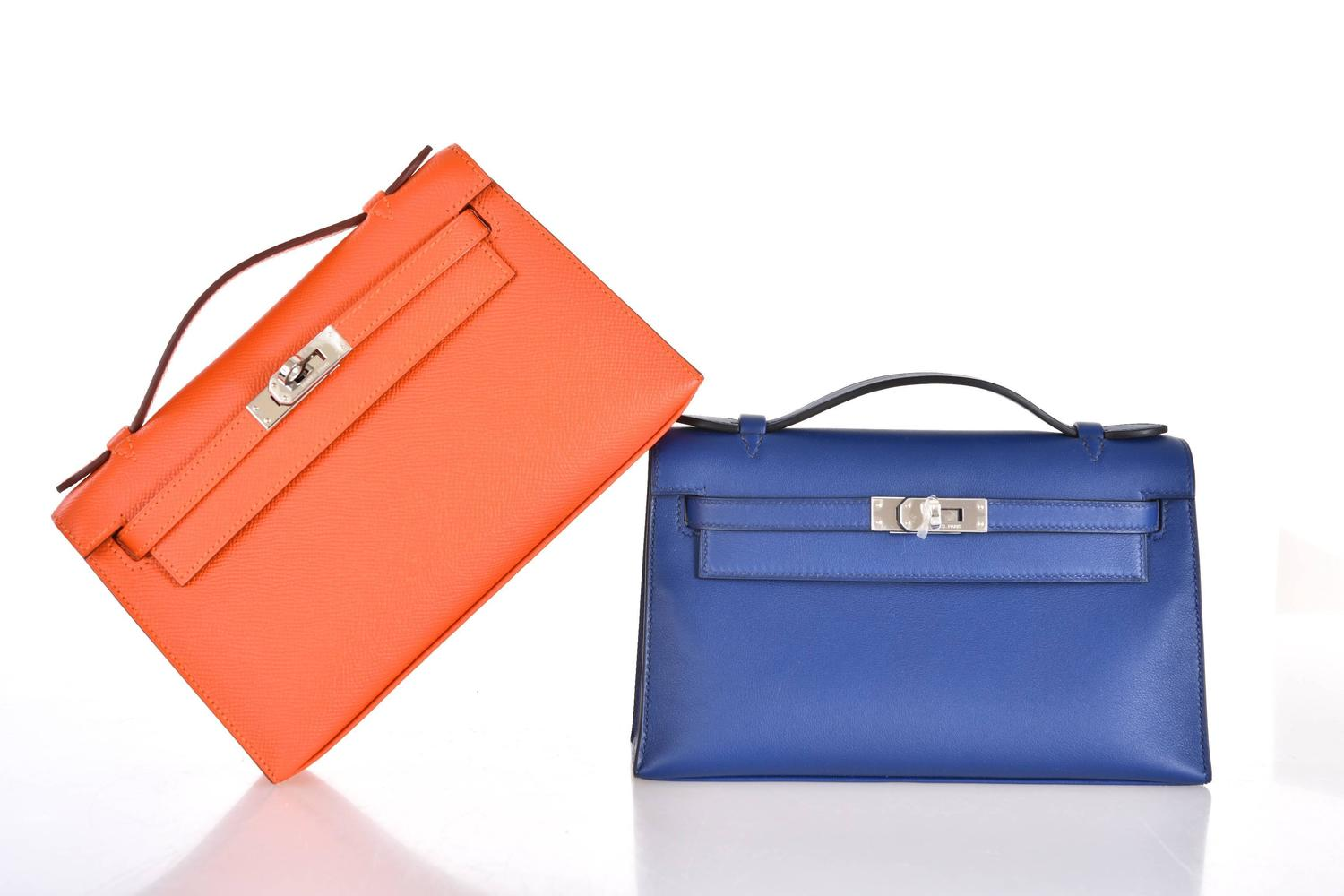 hermes knock off - Hermes Sapphire Mini Kelly Pochette Palladium Hardware JaneFinds ...