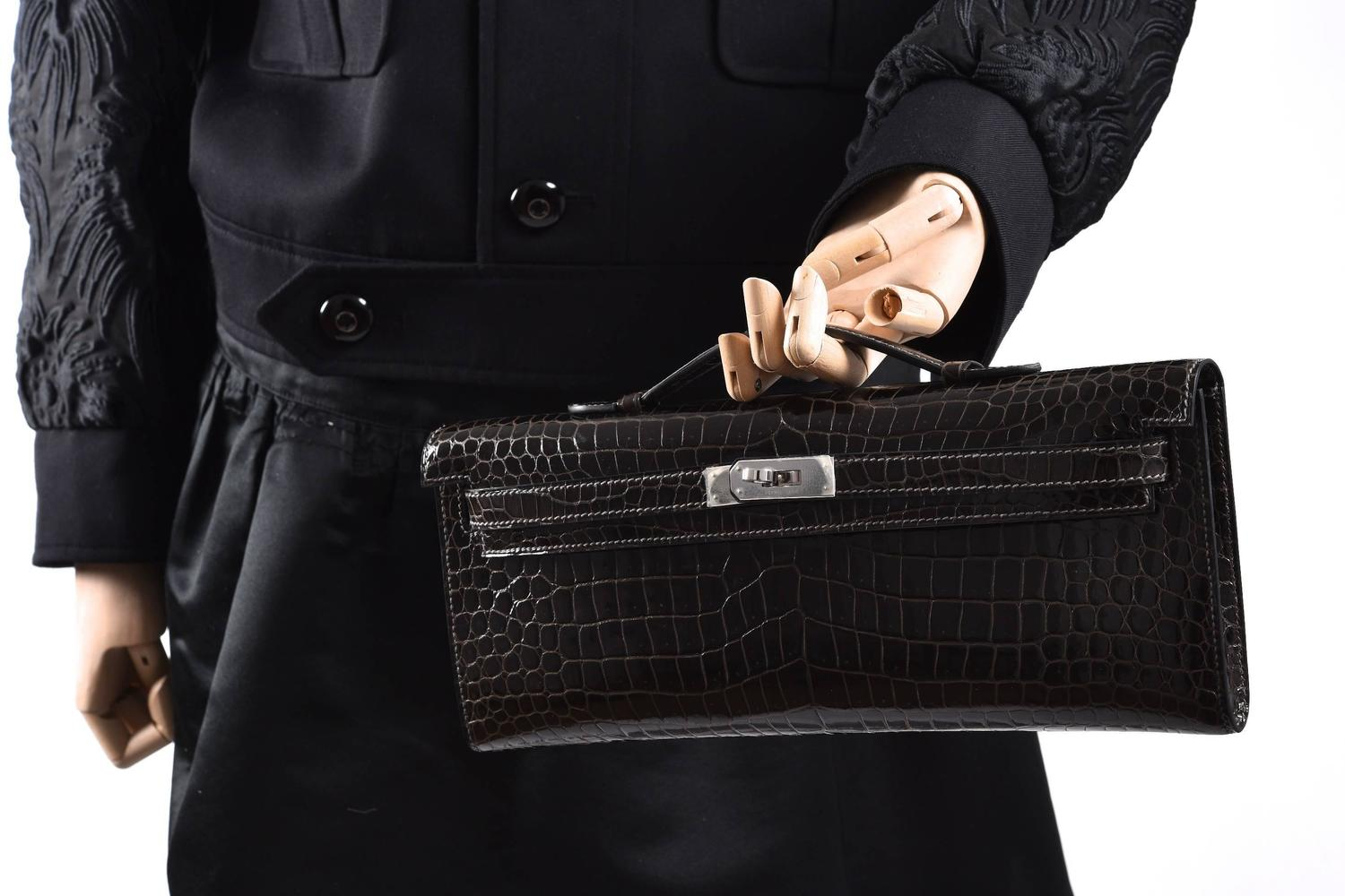 fake hermes bag - Hermes Kelly cut Graphite Porosus Crocodile Kelly Cut Clutch ...