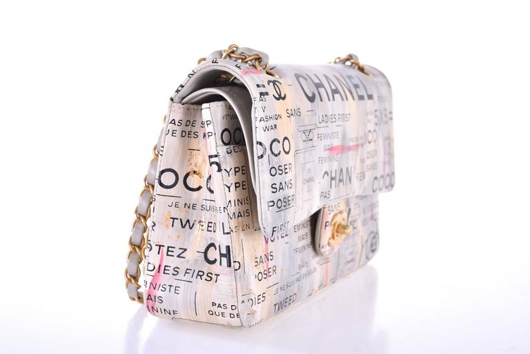 Chanel Medium Graffiti Logo Newspaper Print Double Flap Bag RUNWAY JaneFinds In New Condition In NYC Tri-State/Miami, NY