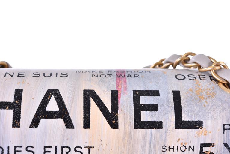 Chanel Medium Graffiti Logo Newspaper Print Double Flap Bag RUNWAY JaneFinds 4