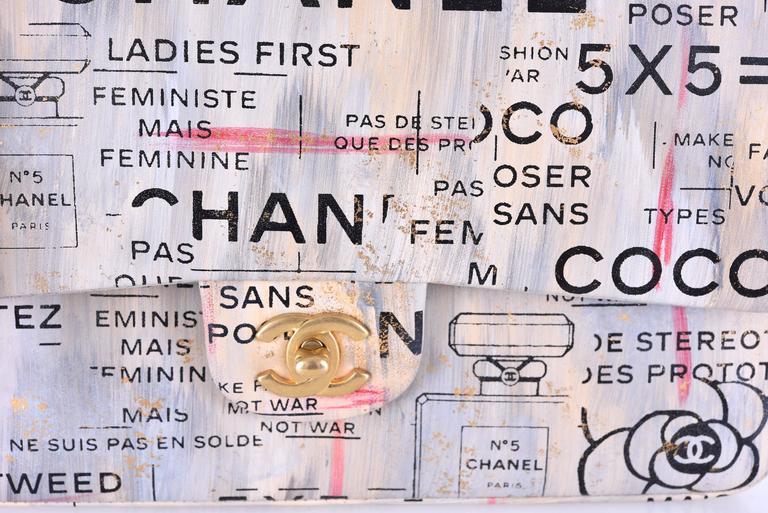 Chanel Medium Graffiti Logo Newspaper Print Double Flap Bag RUNWAY JaneFinds 3