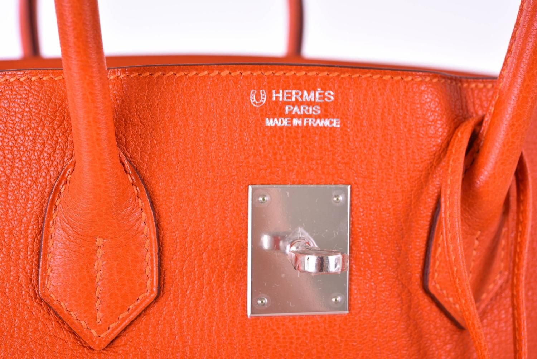 fe21576f11 Hermes Birkin Bag 35cm Chevre HSS Fire Feu Orange with Blue Lin .