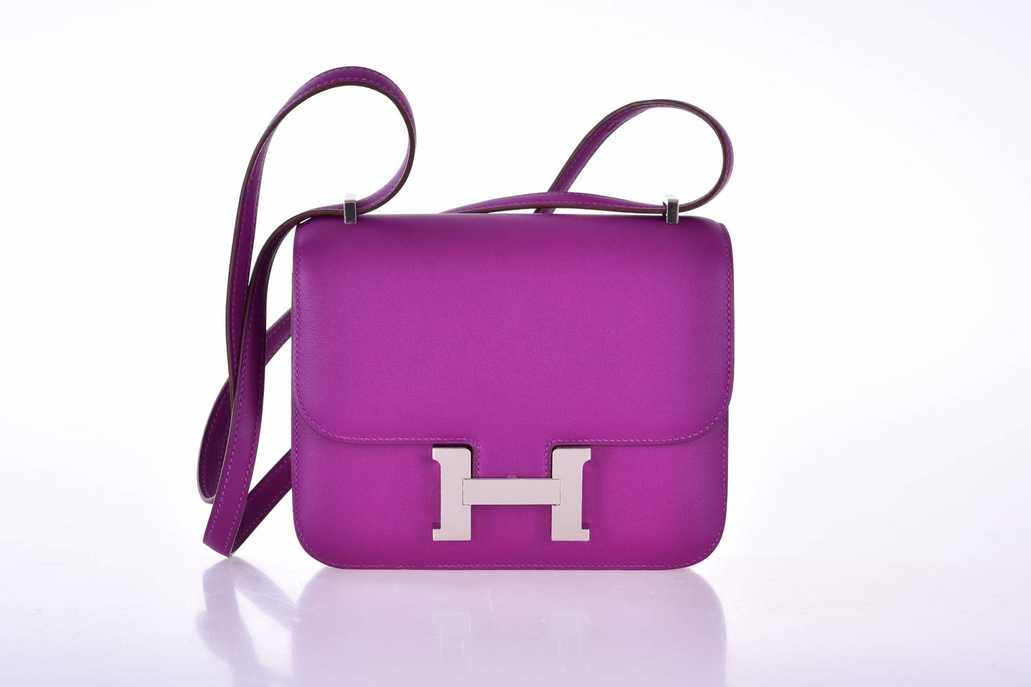 hermes handbags outlet - Hermes Mini Constance 18cm Anemone Swift Palladium Hardware ...