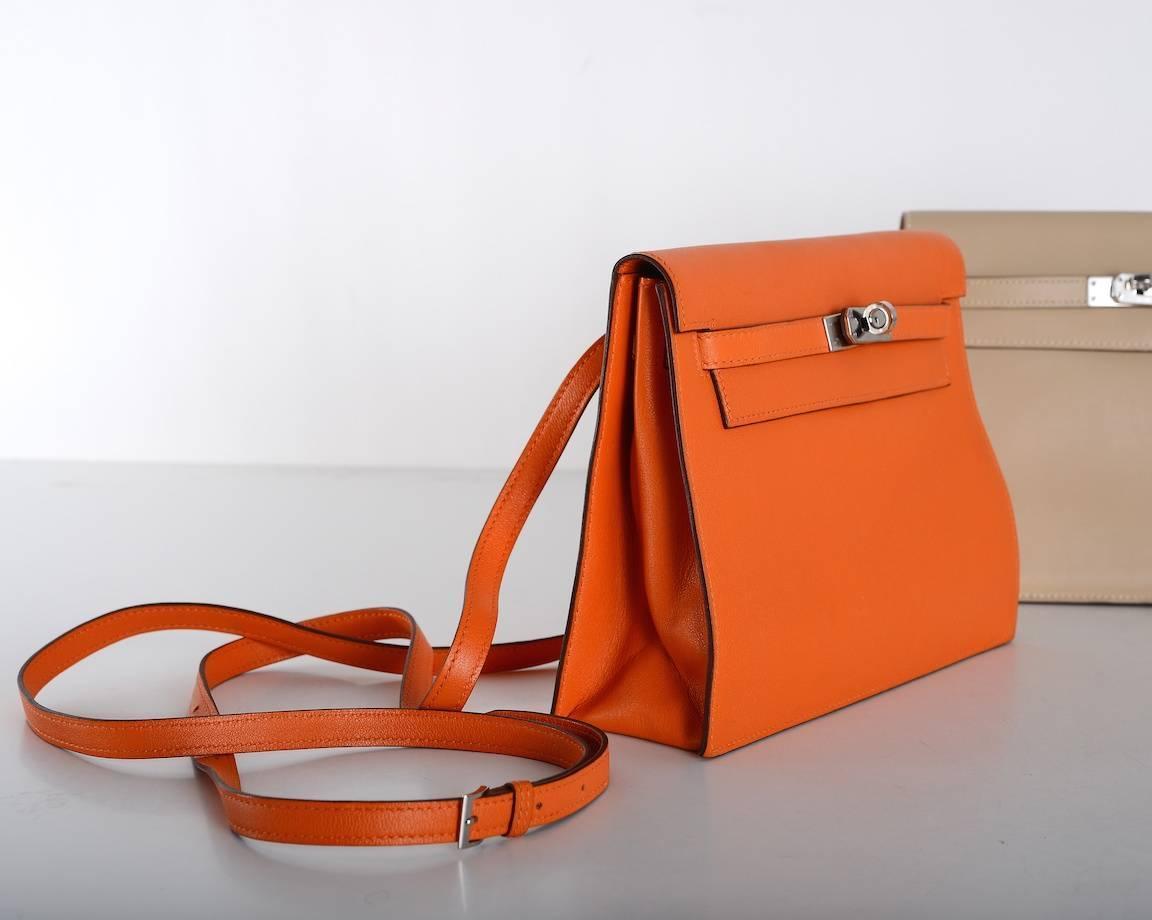 Hermes Kelly Danse Bag ORANGE SWIFT PALLADIUM JaneFinds For Sale ...