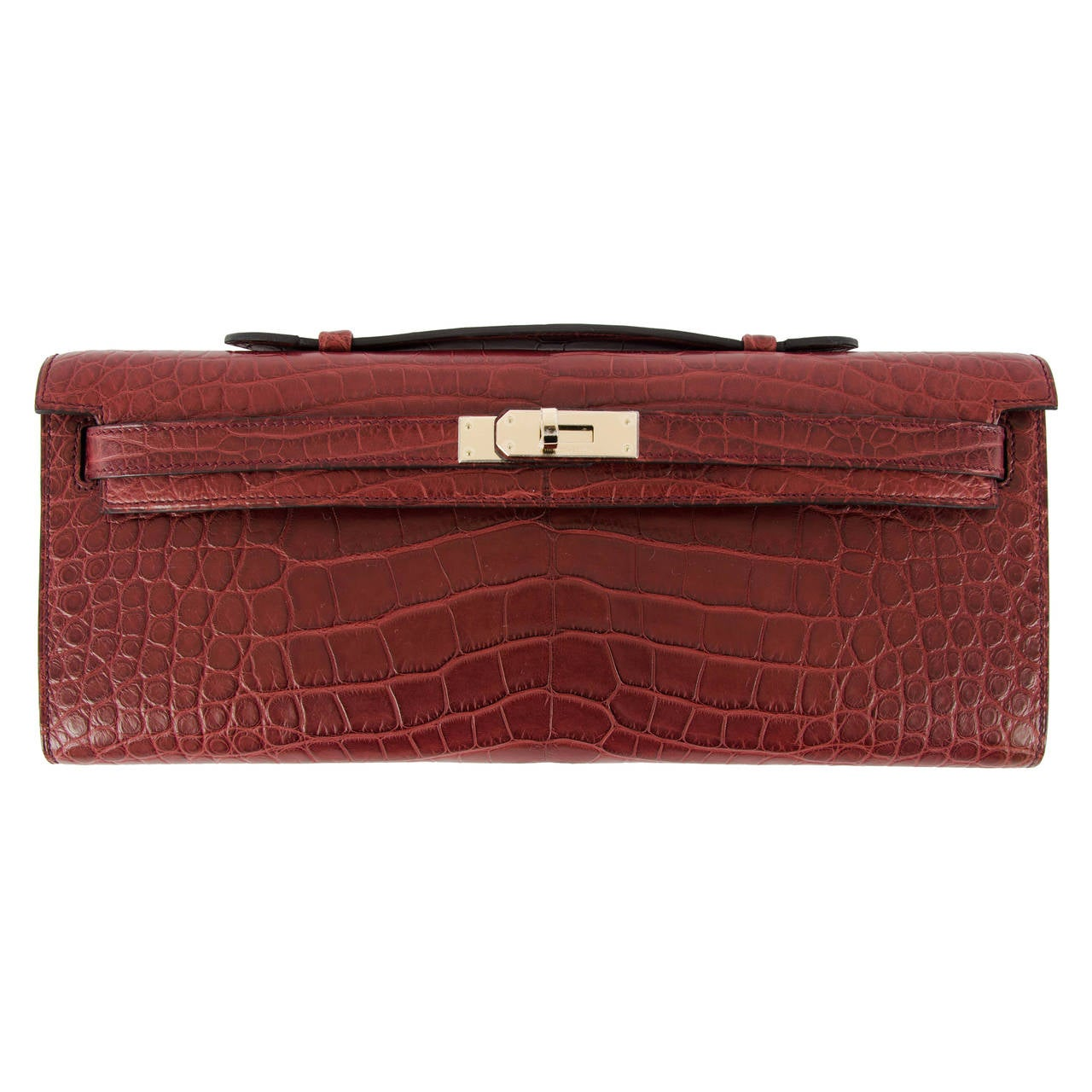 hermes replica bag - NEW HERMES KELLY CUT Matt Alligator Permabrass Bourgogne Hardware ...