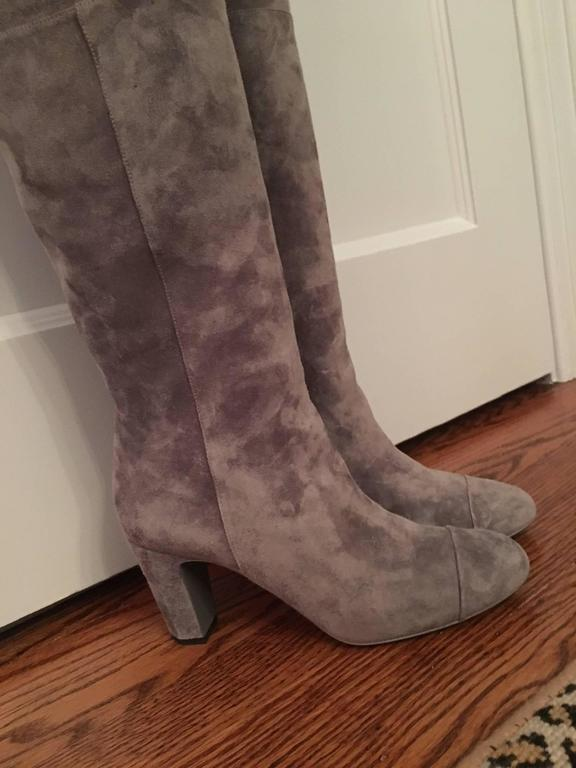 Chanel over the knee High Boots in Gray with a beautiful angled 3 1/4