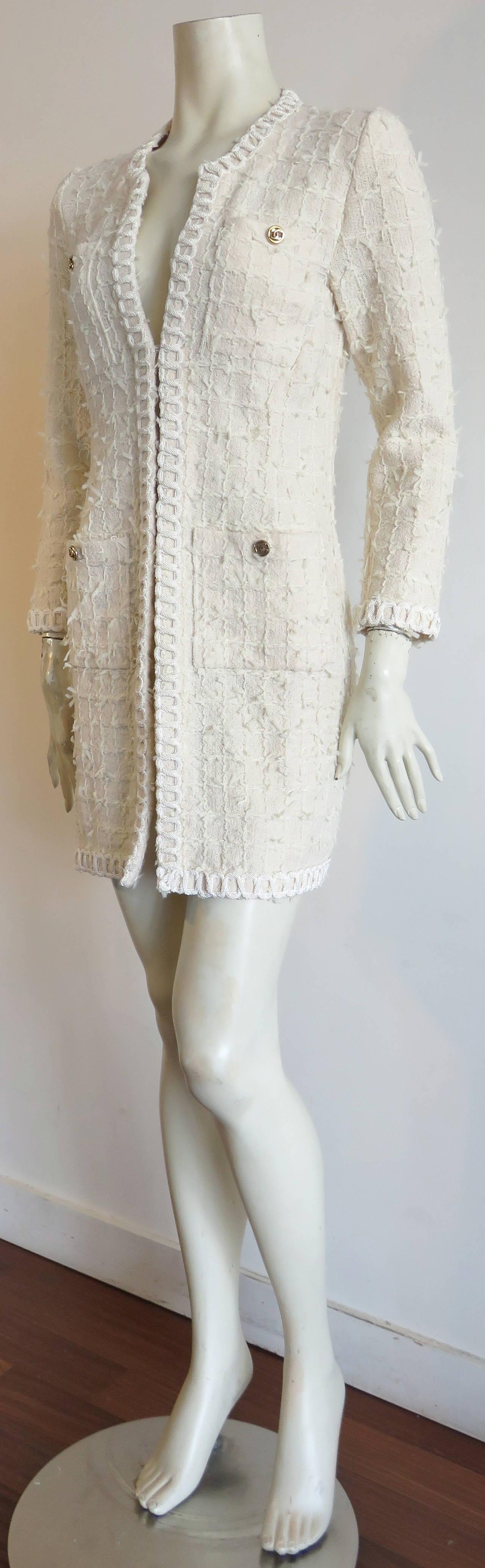 1980s CHANEL PARIS Ivory knit long cardigan at 1stdibs