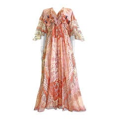 1974 ZANDRA RHODES Ayers Rock Collection silk dress