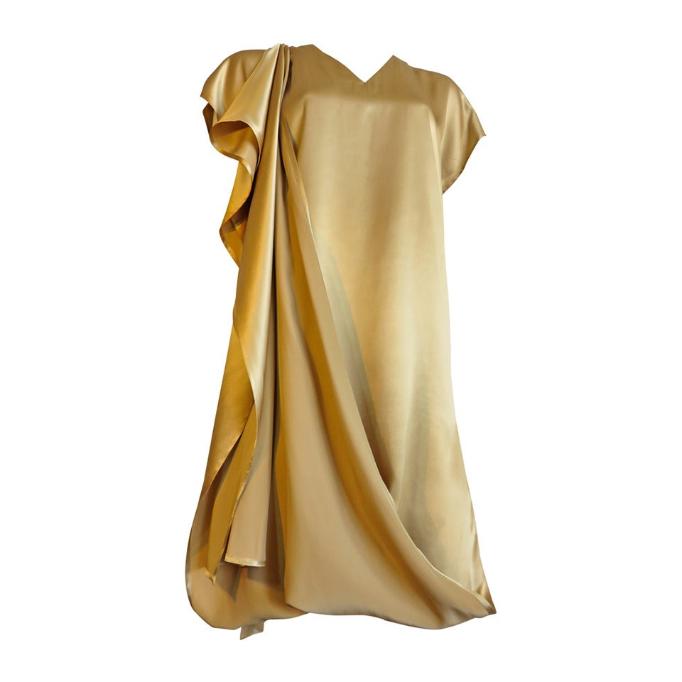 1990 S Shamask Couture Moss Gold Silk Dress At 1stdibs