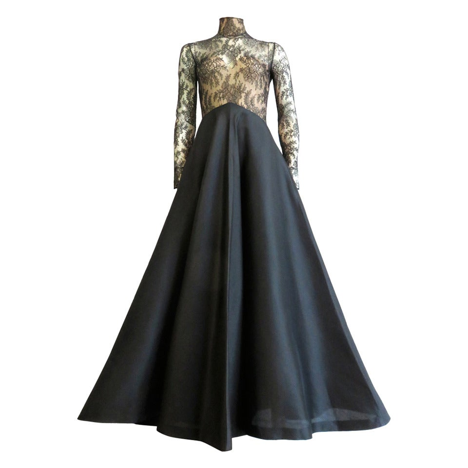 1980s jeanlouis scherrer couture chantilly lace evening