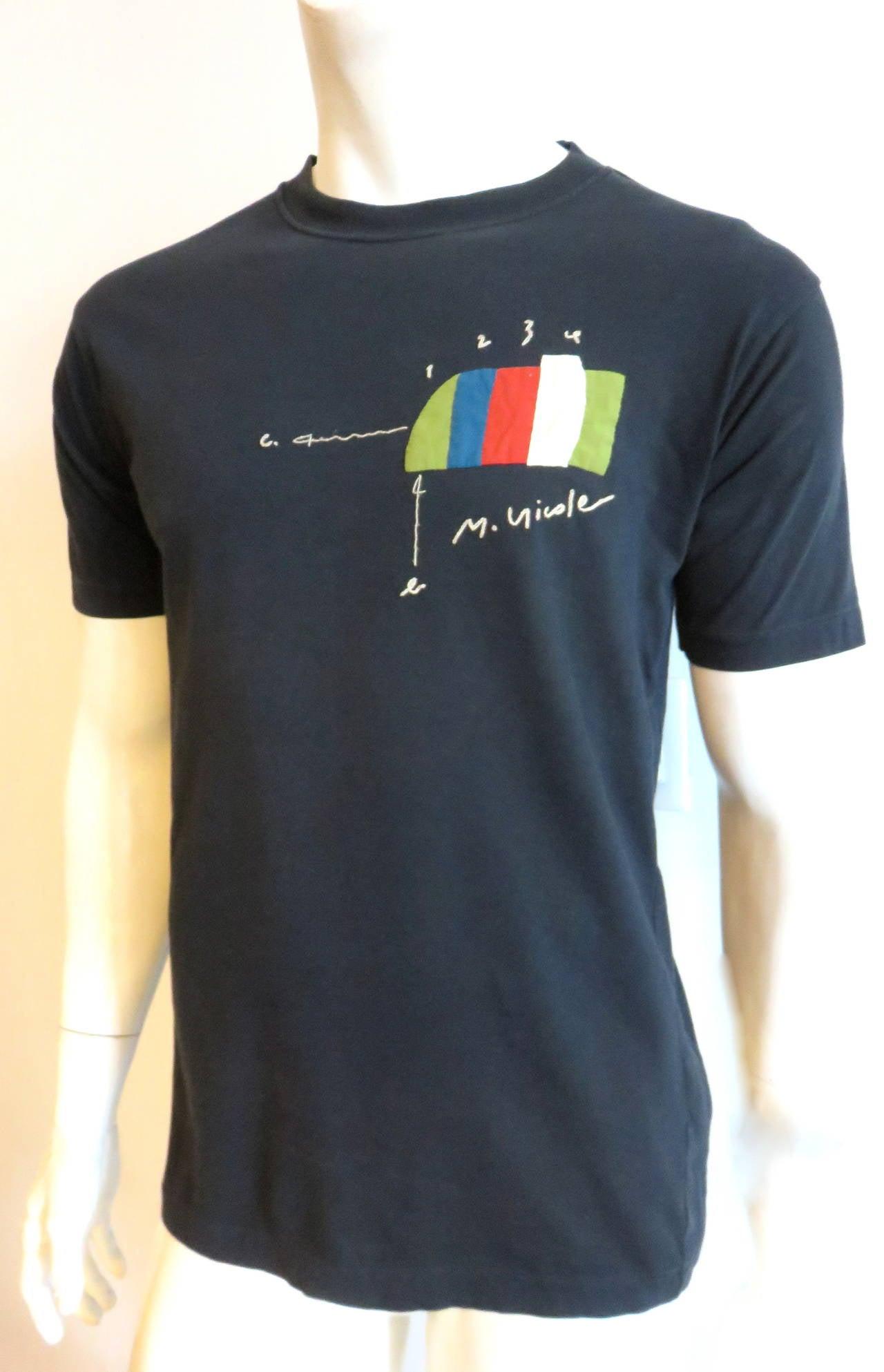 1980 39 s matsuda monsieur nicole men 39 s appliqu t shirt for for Applique shirts for sale