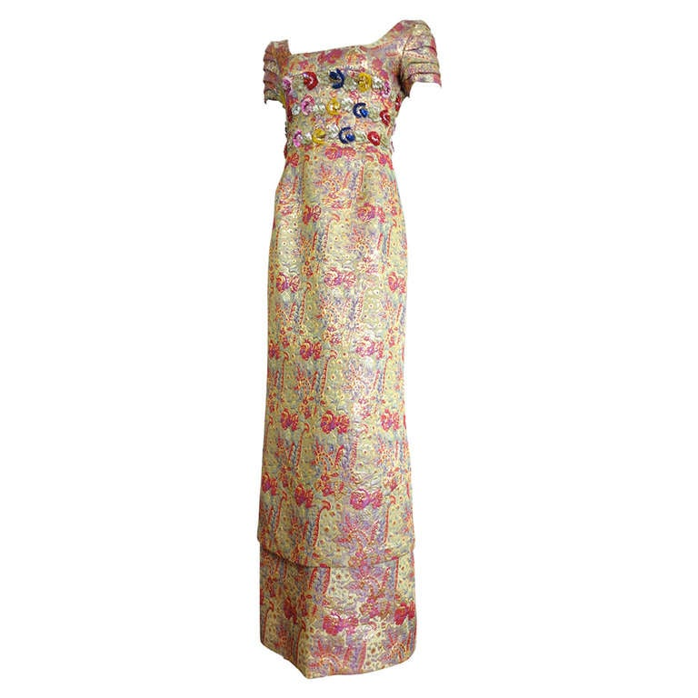 Vintage Hand Beaded Brocade Evening Dress At 1stdibs